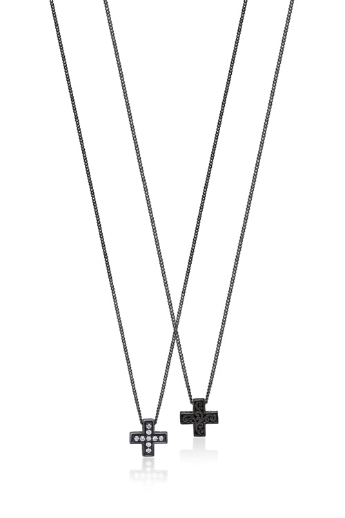 White Diamond Cross Sign Pendant Necklace in Black Rhodium Plated Sterling Silver