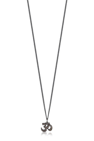 Brown Diamond 'Om' Pendant Necklace in Black Rhodium Plated Sterling Silver - Lois Hill Jewelry
