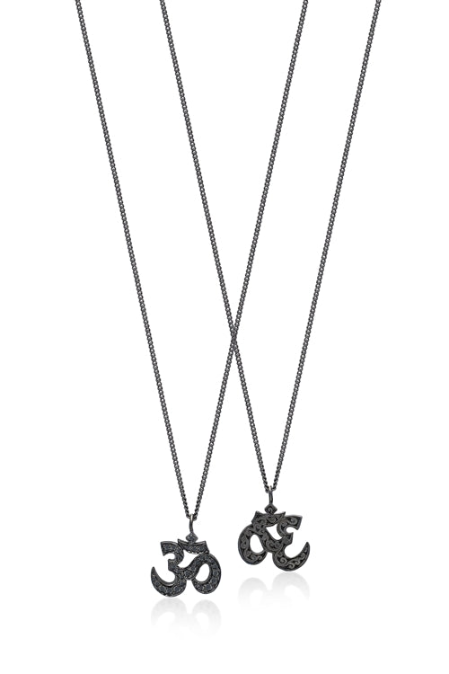 Black Diamond 'Om' Pendant Necklace in Black Rhodium Plated Sterling Silver