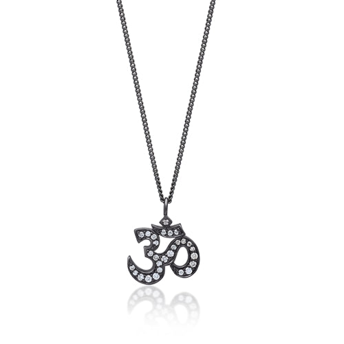 White Diamond 'Om' Pendant Necklace in Black Rhodium Plated Sterling Silver