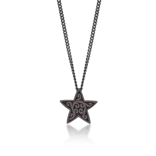 Brown Diamond Star Pendant Necklace in Black Rhodium Plated Sterling Silver