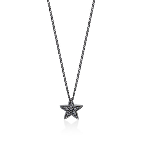 Black Diamond Star Pendant Necklace in Black Rhodium Plated Sterling Silver