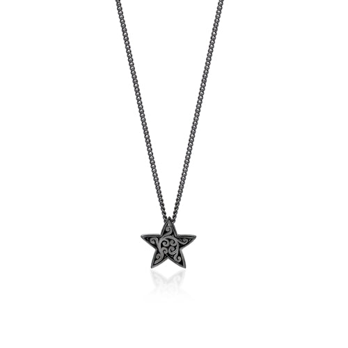 White Diamond Star Pendant Necklace in Black Rhodium Plated Sterling Silver