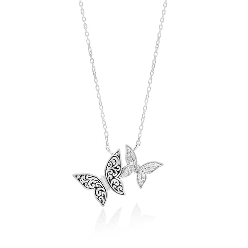 Handcarved Scroll & Diamond Butterfly Necklace