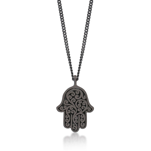 Brown Diamond Hamsa Pendant Necklace in Black Rhodium Plated Sterling Silver