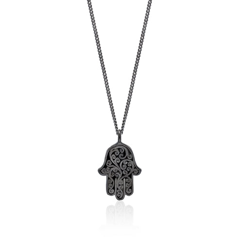 Black Diamond Hamsa Pendant Necklace in Black Rhodium Plated Sterling Silver
