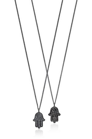 Black Diamond Hamsa Pendant Necklace in Black Rhodium Plated Sterling Silver - Lois Hill Jewelry