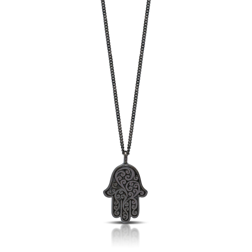 White Diamond Hamsa Pendant Necklace in Black Rhodium Plated Sterling Silver