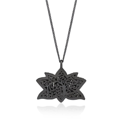Black Diamond Lotus Pendant Necklace in Black Rhodium Plated Sterling Silver