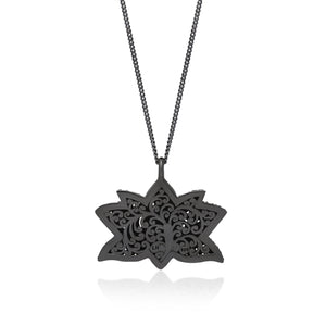 White Diamond Lotus Pendant Necklace in Black Rhodium Plated Sterling Silver - Lois Hill Jewelry