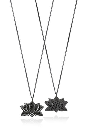 White Diamond Lotus Pendant Necklace in Black Rhodium Plated Sterling Silver