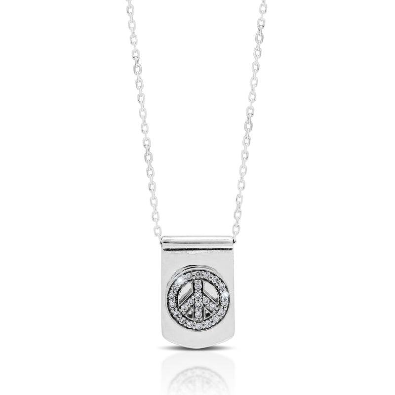 LH Hand Carved Scroll md IDtag with Peace sign Diamond Pendant Necklace. 10mm x 15mm Pendant