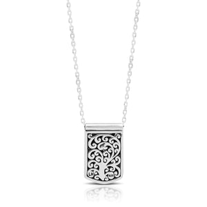 LH Hand Carved Scroll md IDtag with Heart Diamond Pendant Necklace. 10mm x 15mm Pendant