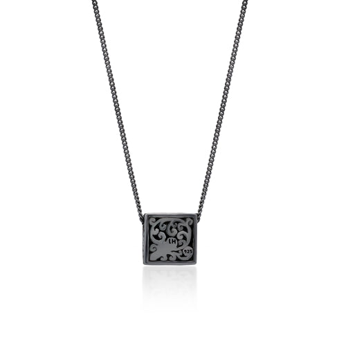 Brown Diamond Square Pendant Necklace in Black Rhodium Plated Sterling Silver
