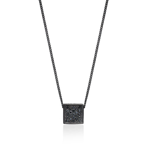 Black Diamond Square Pendant Necklace in Black Rhodium Plated Sterling Silver