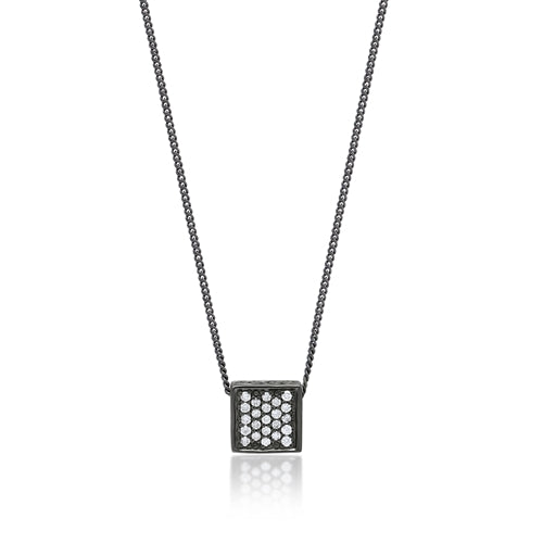 White Diamond Square Pendant Necklace in Black Rhodium Plated Sterling Silver - Lois Hill Jewelry