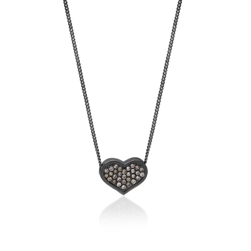 Brown Diamond Heart Pendant Necklace in Black Rhodium Plated Sterling Silver