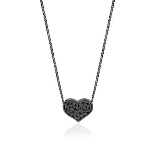 Black Diamond Heart Pendant Necklace in Black Rhodium Plated Sterling Silver