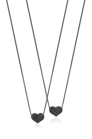 Black Diamond Heart Pendant Necklace in Black Rhodium Plated Sterling Silver - Lois Hill Jewelry