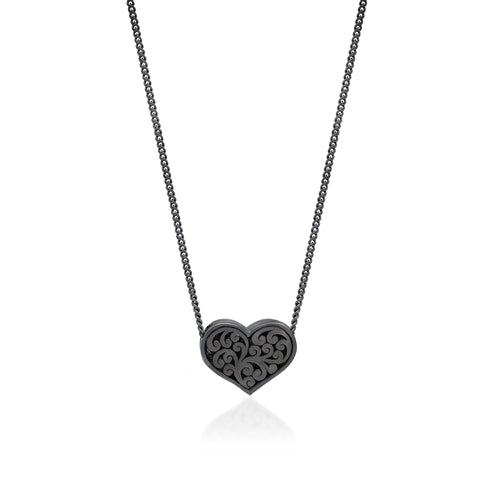 White Diamond Heart Pendant Necklace in Black Rhodium Plated Sterling Silver - Lois Hill Jewelry