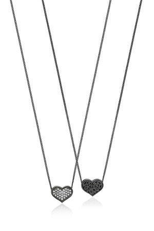 White Diamond Heart Pendant Necklace in Black Rhodium Plated Sterling Silver