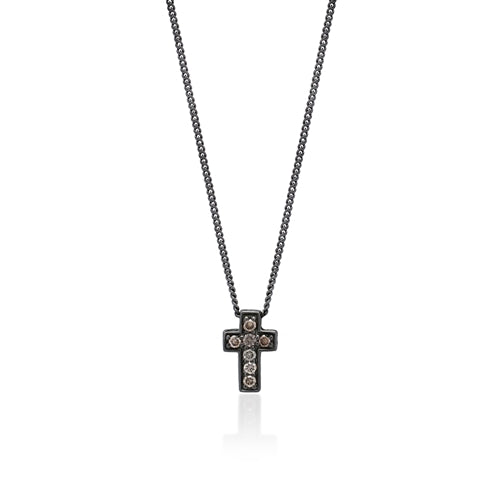 Small Brown Diamond Cross Pendant Necklace in Black Rhodium Plated Sterling Silver