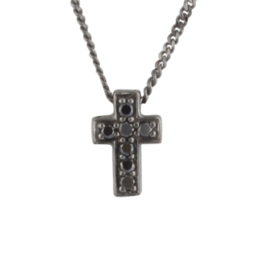 Small Black Diamond Cross Pendant Necklace in Black Rhodium Plated Sterling Silver