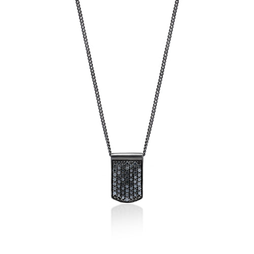 Black Diamond Dog Tag  Pendant Necklace in Black Rhodium Plated Sterling Silver
