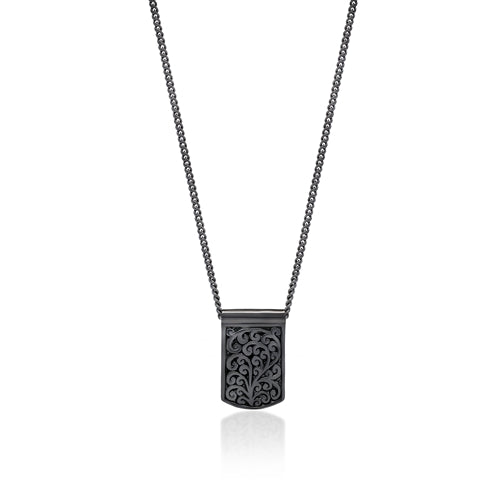 Black Diamond Dog Tag  Pendant Necklace in Black Rhodium Plated Sterling Silver - Lois Hill Jewelry