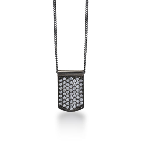 White Diamond Dog Tag  Pendant Necklace in Black Rhodium Plated Sterling Silver - Lois Hill Jewelry