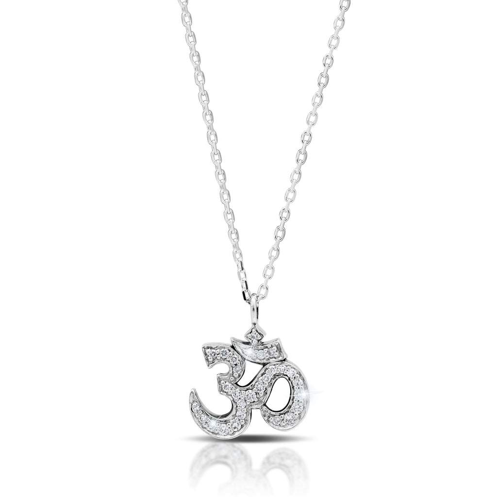 White Diamond 'Om' Pendant Necklace in Sterling Silver