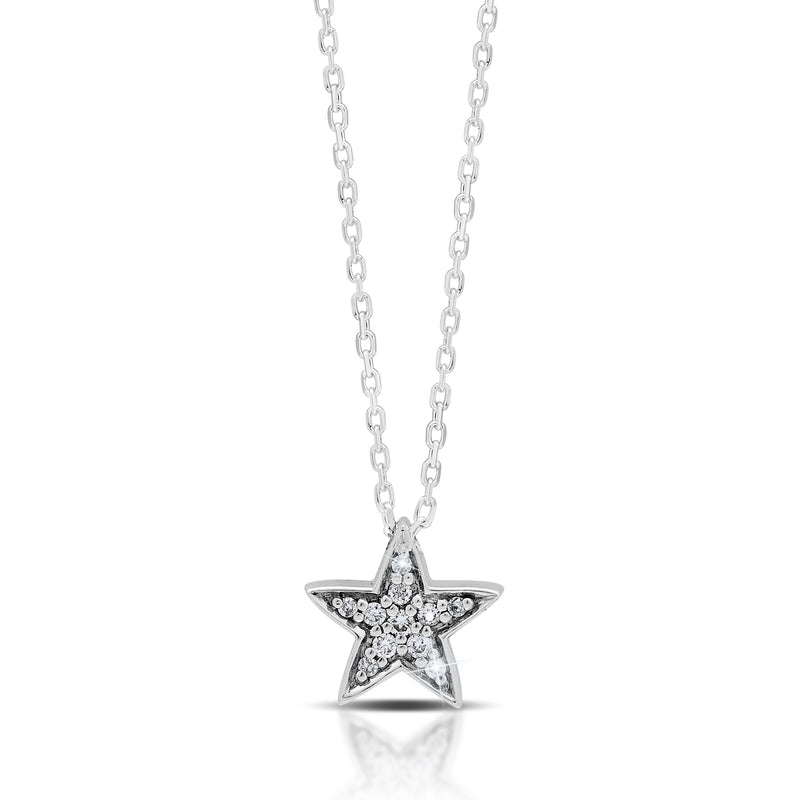 LH Hand Carved Scroll sm Star Diamond Pendant Necklace
