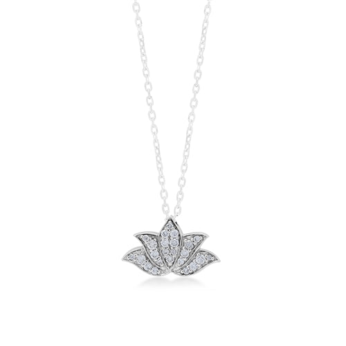 LH Hand Carved Scroll sm Lotus pave Diamond Pendant Necklace - Lois Hill Jewelry