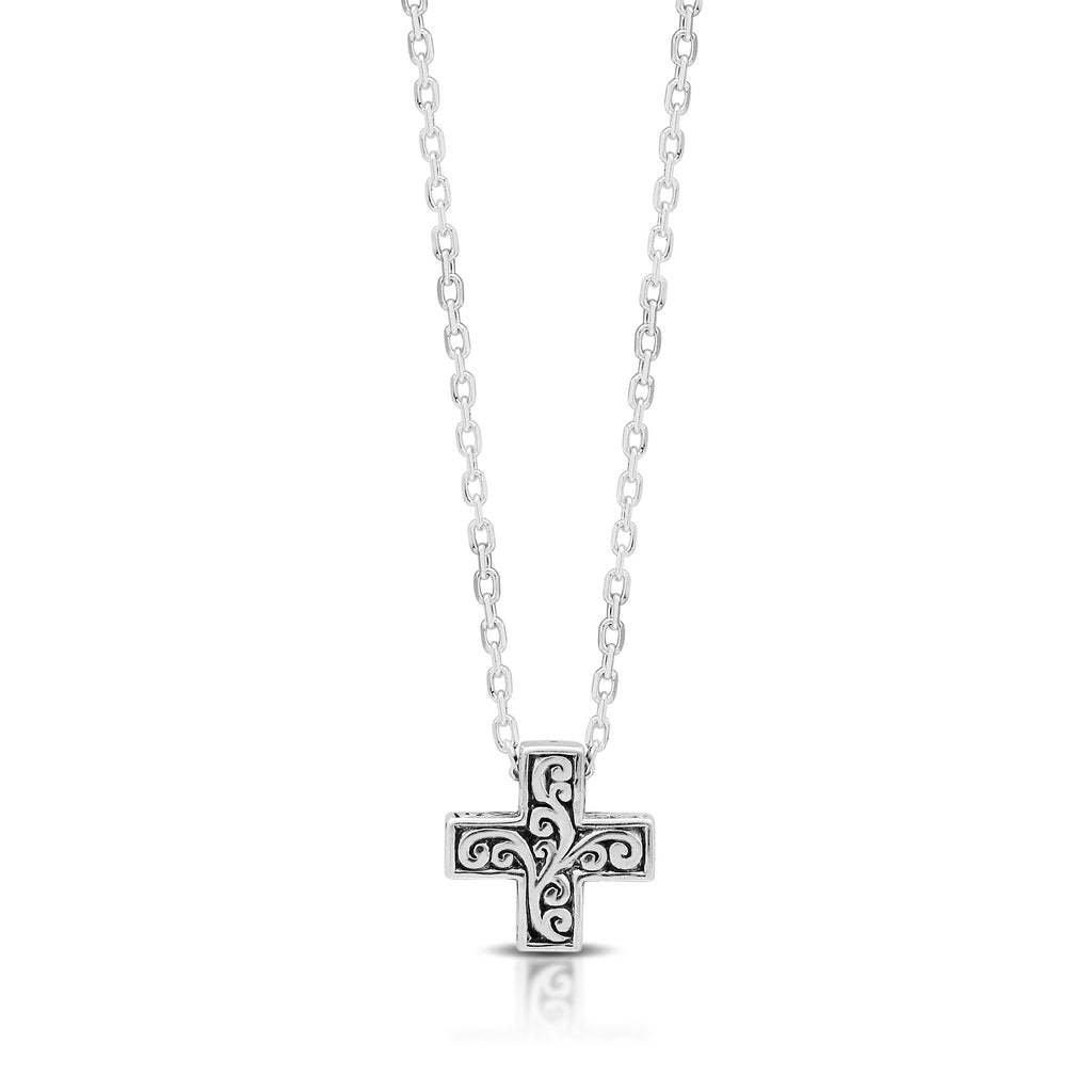 LH Hand Carved Scroll sm Red-Cross Diamond Pendant Necklace