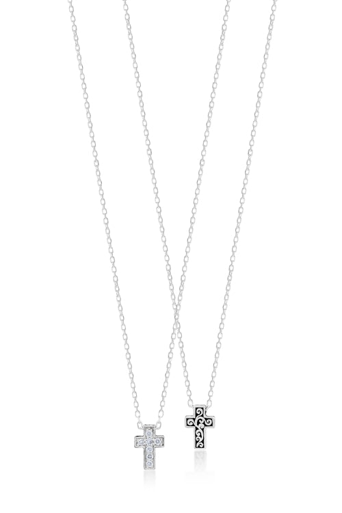 White Diamond Sterling Silver LH Signature Scroll X-small Cross Pendant Necklace on Adjustable Chain - Lois Hill Jewelry