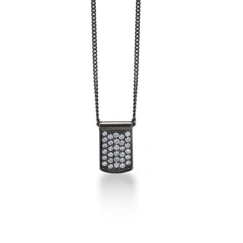 White Diamond Dog Tag  Pendant Necklace in Black Rhodium Plated Sterling Silver