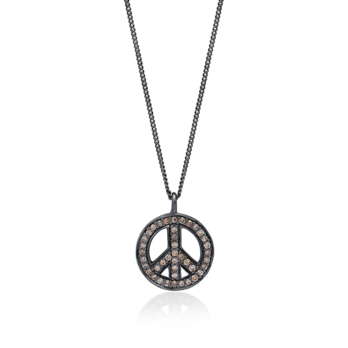 Brown Diamond Peace Pendant Necklace in Black Rhodium Plated Sterling Silver - Lois Hill Jewelry