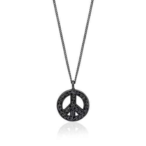 Black Diamond Peace Pendant Necklace in Black Rhodium Plated Sterling Silver