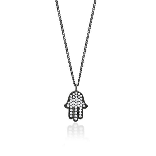 "White Diamond Hamsa Pendant Necklace in Black Rhodium Plated Sterling Silver. 8mm X 13mm Pendant 20"" Chain"