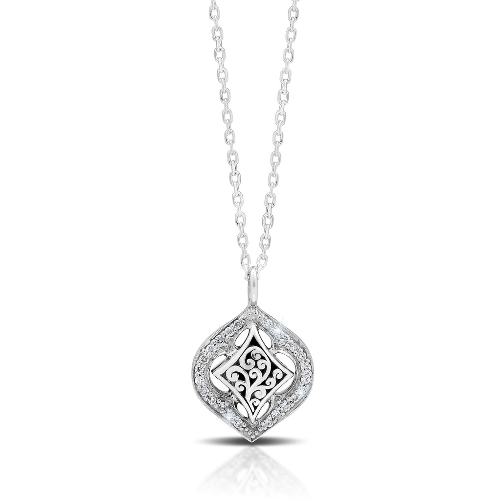 Marquise Drop Pendant with White Diamond on Diamond Cut Chain