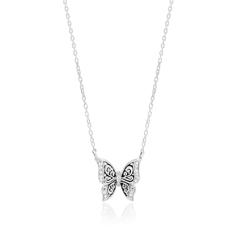 LH Hand Carved Scroll sm Butterfly Diamond Pendant Necklace