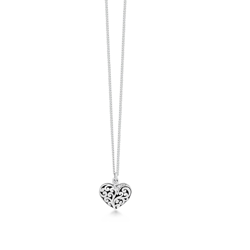 White Diamond Sterling Silver LH Signature Scroll Heart Pendant Necklace on Adjustable Chain - Lois Hill Jewelry