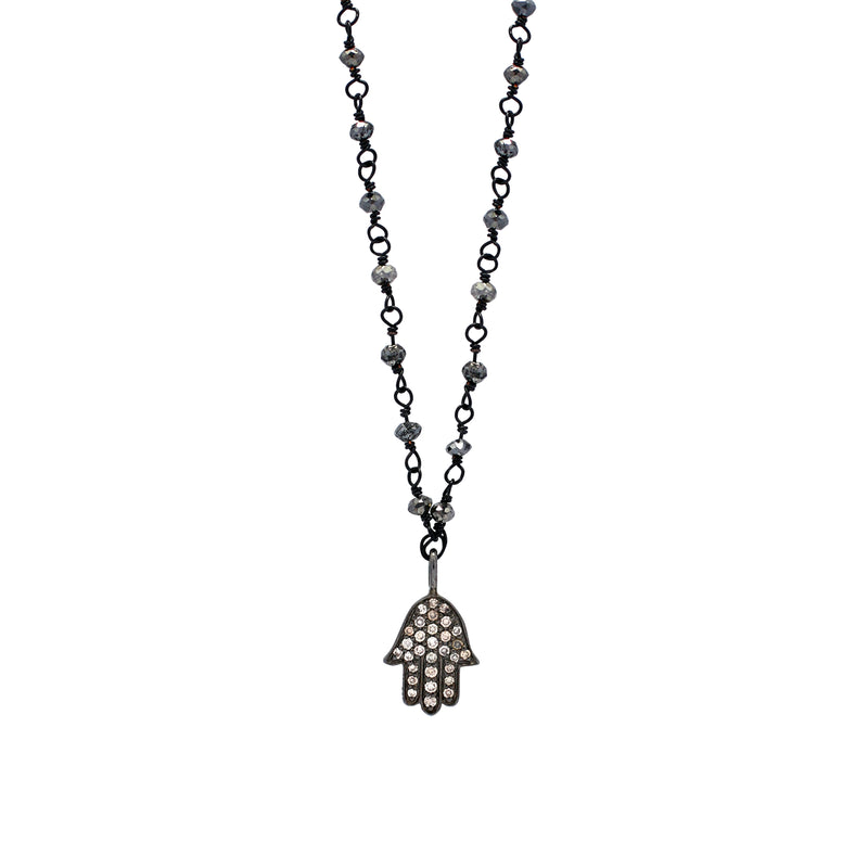 Brown Diamond Hamsa Pendant on Black Diamond Rough Cut Wire-Wrapped Necklace. 8mm x 15mm Pendant on 16'' Chain