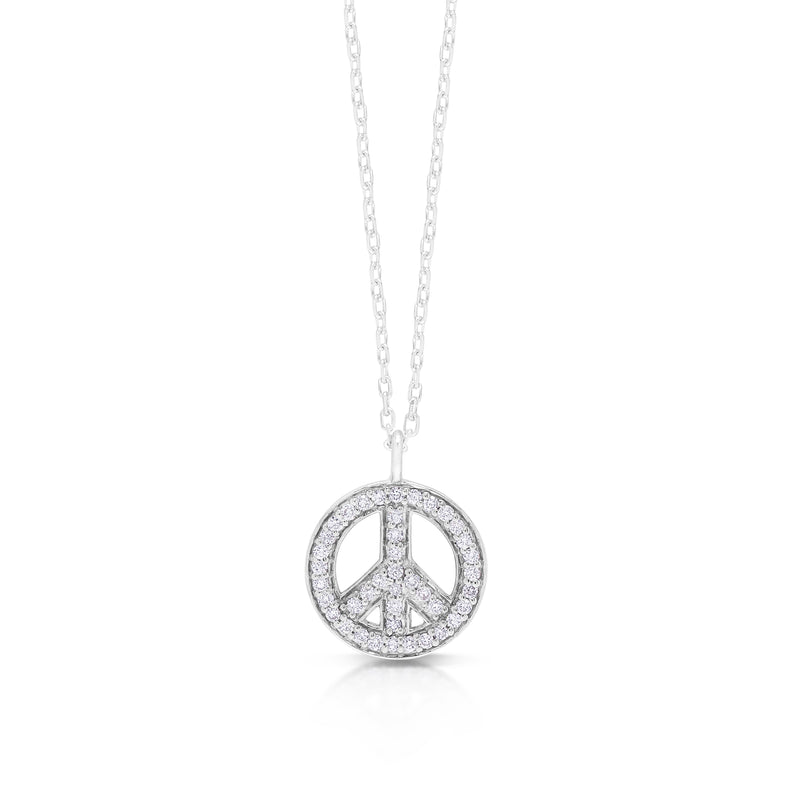 White Diamond Peace Pendant Necklace Sterling Silver