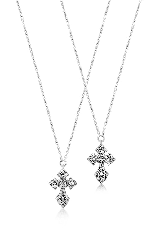 Classic Carved Signature Scroll, Diamond Cross Pendant - Lois Hill Jewelry