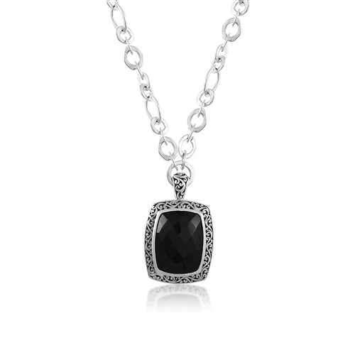 Classic Cutout Rectangular Pendant with Black Onyx on Link Chain Necklace