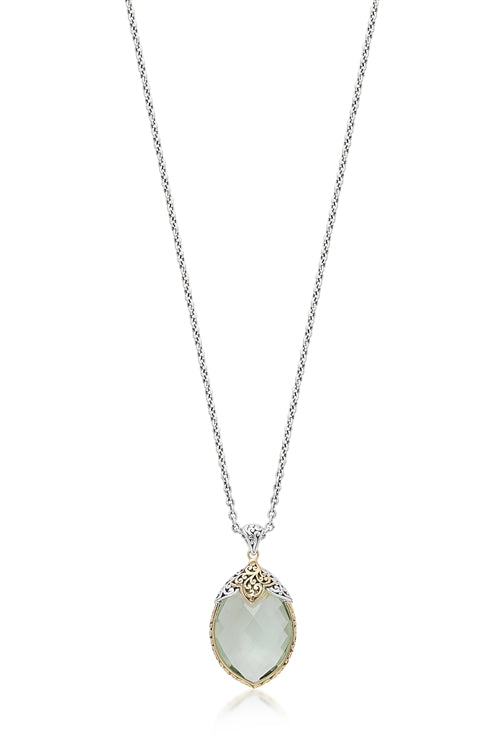 18K Gold & Sterling Silver, Green Quartz Teardrop Pendant Necklace