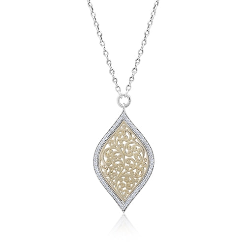 18K Gold Flat Open Scroll, Diamond Pendant Necklace - Lois Hill Jewelry