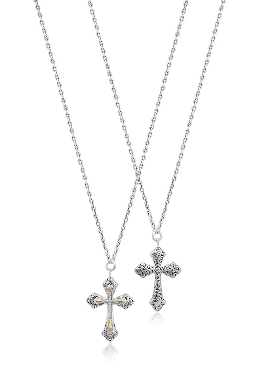 18K Gold Cutout Scroll, Diamond Cross Necklace