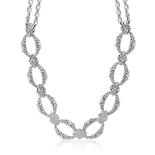 White Diamond LH Signature Scroll Oval Link Necklace in Sterling Silver